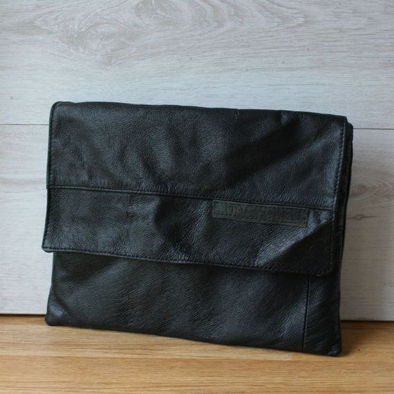 Black leather iPad cover from upcycled leather