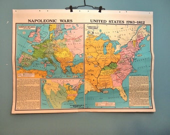 Free Shipping Vintage 2 sided Pull Down School Map of Civil War United States Napoleonic Wars  Europe