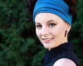 Womens Head Wraps, Extra Wide Hair Wrap, Teal Blue Headband, Bandana Headband Women, Adult Head Warmer Head Wrap, Workout Yoga Headband