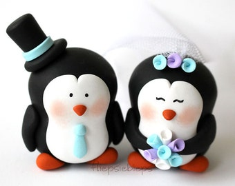 Customise Penguin Cake Topper Wedding
