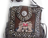 Yorkie Handbag Crossbody Bag  Purse Dog Art by SugarspiceArt