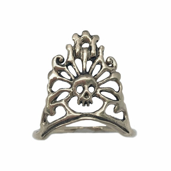 SKULL CROWN RING silver gold