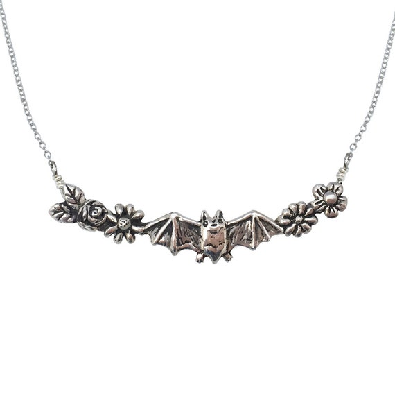 BAT + FLOWERS NECKLACE silver gold jewelry