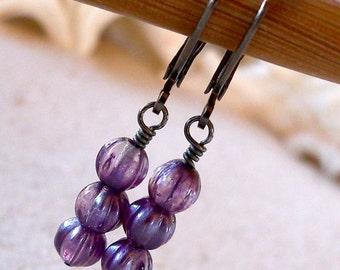 Beaded Dangle Earrings - Beaded Earrings - Lightweight Earrings - Drop Earrings - Purple Earrings - Purple Melon Bead Earrings