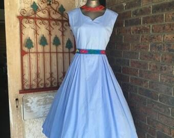 1950s dress cotton dress 50s dress day dress size x-small Vintage dress rockabilly dress full skirt dress