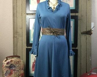 Sale 1970s blue dress 70s disco dress size medium Vintage ofiice dress secretary dress