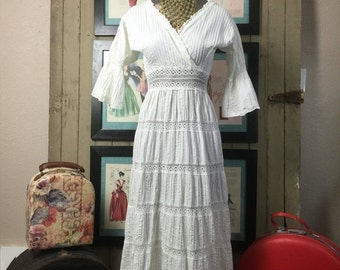 On sale 1970s maxi dress mexican wedding dress 70s pin tucked dress size small Vintage dress bohemian dress