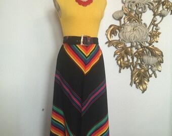 1970s skirt maxi skirt rainbow skirt belted skirt chevron skirt size medium vintage skirt 70s skirt