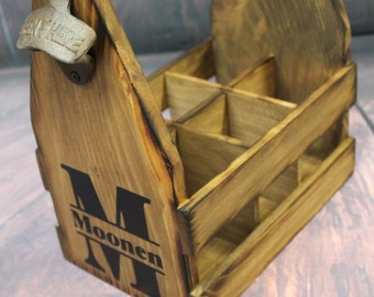 Wood Beer caddy Custom Tote MONOGRAM LETTER Rustic Carrier -  six pack holder - Man Cave - Custom Brewery - Bottle Opener - Groom Gift