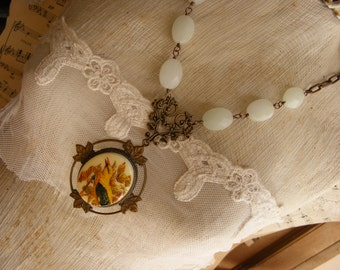 Yellow Bird Necklace Vintage Cameo, Long Necklace, Vintage Bird