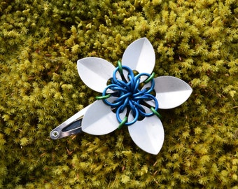 Small Scalemaille Flower Barrette Anodized Aluminum Silver, Blue and Green