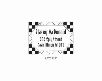 Checkerboard Tile Border Return Address Label Rubber Stamp AD380