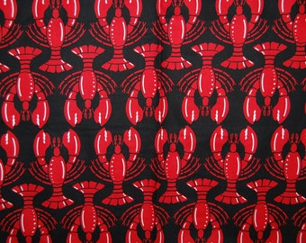 Love LOBSTER red black cotton fabric by Hoodie Collection