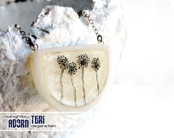 SALE  // Dandelion Half Moon | Sterling Silver and Clay Necklace