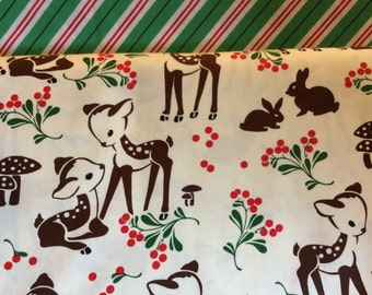 Fawns + Stripes - From Michael Miller - Half Yard Set - 2 Prints - 9.95 Dollars