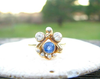 Charming Art Nouveau Sapphire Diamond Ring, Cornflower Blue Sapphire, Old European Cut Diamonds, approx .89 ctw, Lovely Design in 14K Gold