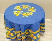 """French Country Tablecloth and Napkins, 70"""" Round Blue and Yellow Tablecloth, Citron"""