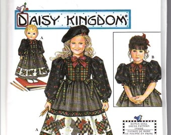 "Simplicity 8358 Girls Daisy Kingdom Dress and American Girl Doll Dress 18"" Sewing Pattern Sizes 3-6 Out of Print UNCUT"