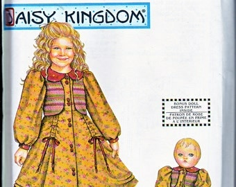"Simplicity 9858 Girls Daisy Kingdom and 18"" American Girl Doll Dress Sewing Pattern Sizes 3-6 Out of Print UNCUT"