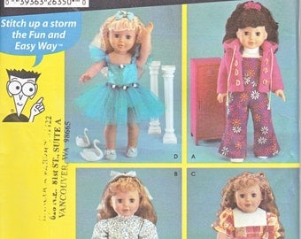 "Simplicity 5670 Sewing For Dummies 18"" Doll Clothes Shirt Overalls Jacket Pajamas Dress Bodysuit Sewing Pattern Out of Print UNCUT"