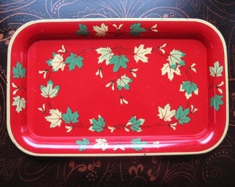 Red yellow metal tray leaves vintage retro serving tray