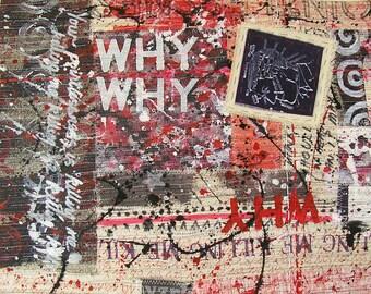 Red black white art, Delilah wall art, Delilah art, mixed media wall art, mixed media art, red black white wall art, sewn art, stitched art