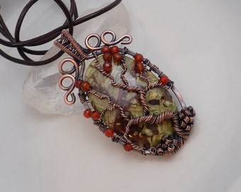Tree of Life Oxidized Copper Pendant Rhyolite Rainforest Jasper Carnelian Beads Pendant Wire Wrapped Jewelry Handmade Medallion Amulet