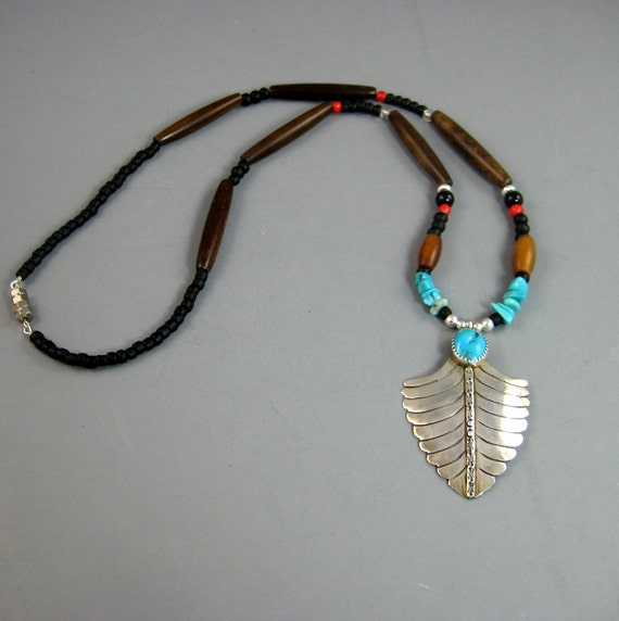 Mens Native American Beads: Silver Pendant Necklace Sterling Silver Necklace Turquoise