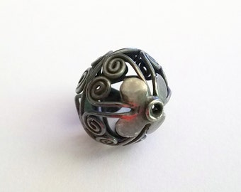 Black Gold Rhodium Plated Finish Over Sterling Silver Bali Bead, Hollow 16mm x 18mm
