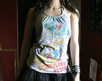 Disneyland vacation Disney tank top halter neck upcycled small medium
