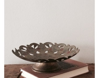 Vintage Brass and Enamel Cake Stand, Candy Dish, Candle Holder