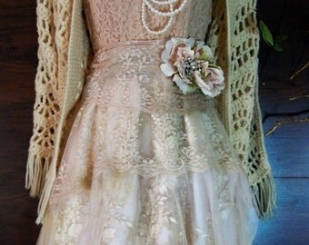 Valentines Sale Blush lace dress  tulle embroidery boho wedding  vintage  bride outdoor  romantic small by vintage opulence on Etsy