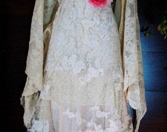 Valentines Sale Beaded lace dress wedding ivory cream vintage flapper  boho  xs by vintage opulence on Etsy