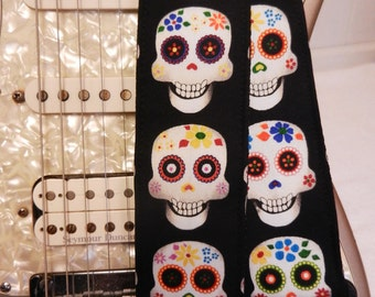 Day of the Dead sugar skulls guitar strap