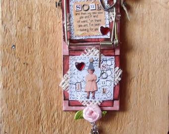 """Altered Mouse Trap """"Soul Mate"""", Mixed Media, Art, Ornaments FREE SHIPPING!!"""