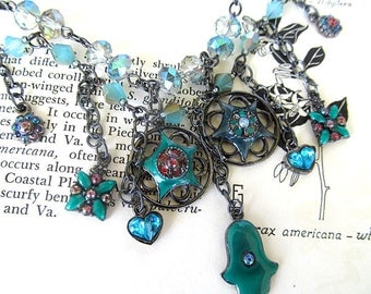 Bohemian Statement Necklace, Boho Jewelry, Gypsy Necklace, Belly Dancer, Glass Bead Necklace, Bib Necklace, Teal, Crystal Beads, Medallions