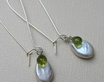 Peridot & Coin Pearl Earrings, August Birthstone Earrings, Sterling Silver Leverback, Long Kidney Earwire, French Hooks