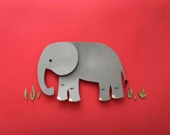 Zoo, Jungle, Safari, Nursery Decor, Elephant Paper Cutout