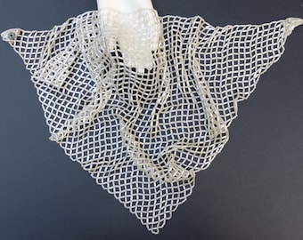 Vintage Beaded Scarf Necklace Satin White Bugle Beads