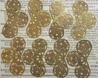 8 Vintage Brass Stamping Finding Supply