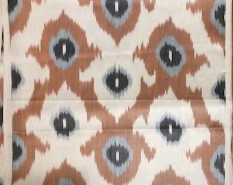Silk Ikat Foulard Handwoven Tan Cream Black Grey