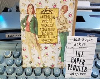 Best Friends Card Handmade Humor Collage Art Hand stamped Blank inside