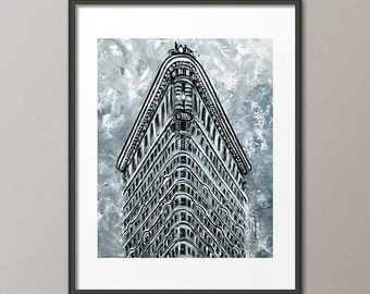 Gallery Canvas and Fine Art Prints Famous Flatiron Building NYC Skyline Cityscape Architecture Abstract Contemporary Modern Elena