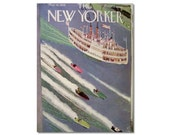 New Yorker Magazine Cover ONLY Vintage Original artist Arnold Hall 5-14-38 New York Hudson river boat and speed boat CONDITION  ISSUES