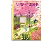 New Yorker Magazine Cover ONLY Vintage Original artist Garrett Price 5-21-49 Painting on Spring Day