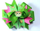 Boutique Green  Monkey Hair Bow Clip Hair Bow