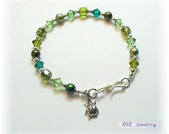 Crystal Bracelet - Green Bracelet - Crystal and Pearl Bracelet - Ladybug Charm - B2016-10