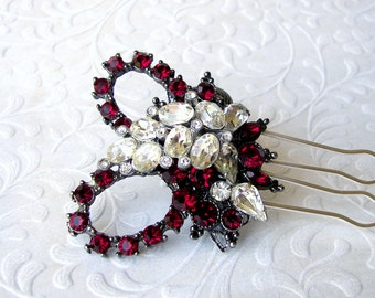 Valentines Wedding Christmas Bride Ruby Rhinestone Hairpiece Black White Red Hair Comb Formal Jeweled Headpiece Pageant Ballroom Accessory
