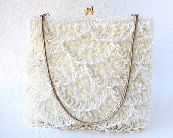 Vintage RICHER by WALBORG Ivory Beaded Purse Wedding Clutch Formal Evening Bag Loop Fringe Glass Beads White Pearl Bridal Handbag Hong Kong