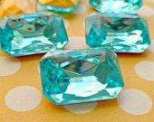 Christmas in July Sale - 18x13mm Aquamarine Octagon Glass Rhinestone Jewels (12-15B-2)